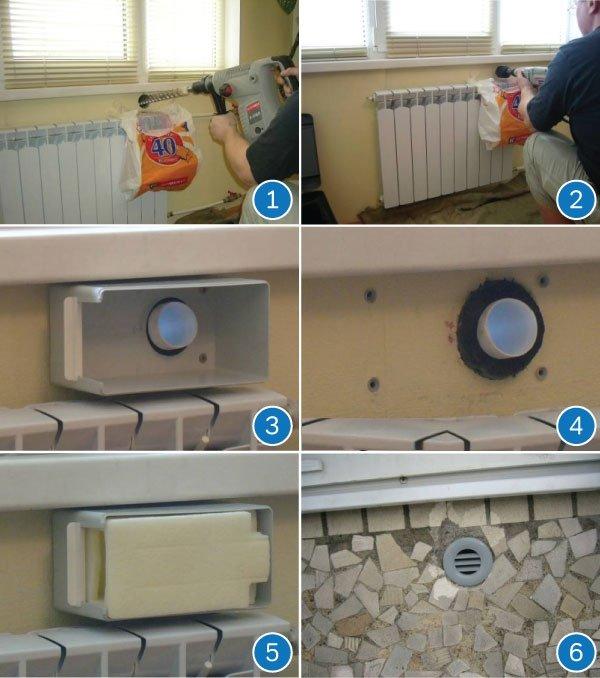 Этапы монтажа приточного клапана для стен