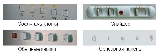 Разные типы панелей управления вытяжки