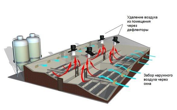 Процесс естественного воздухообмена на производстве
