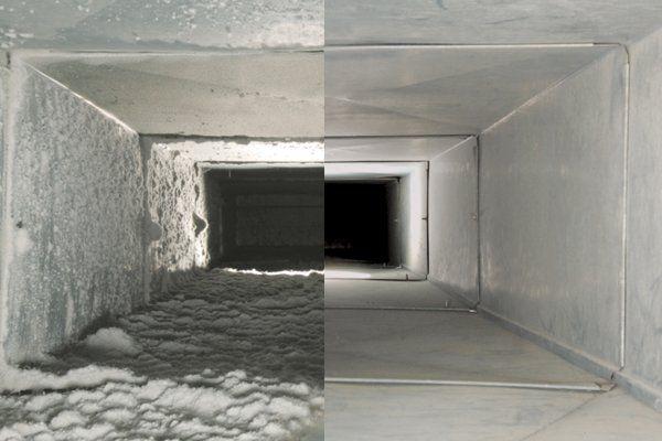 Разница до и после чисти канала вентиляции