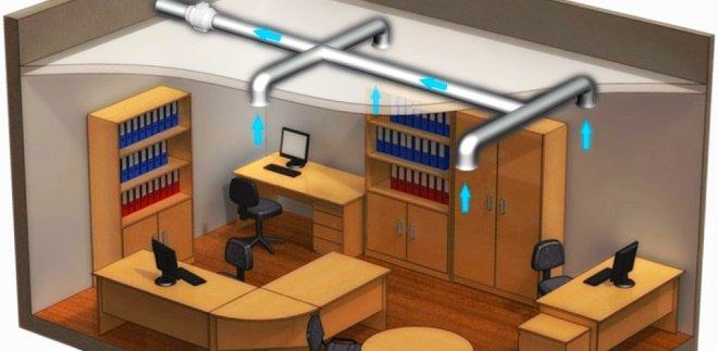 Вентиляционные анемостаты в офисе