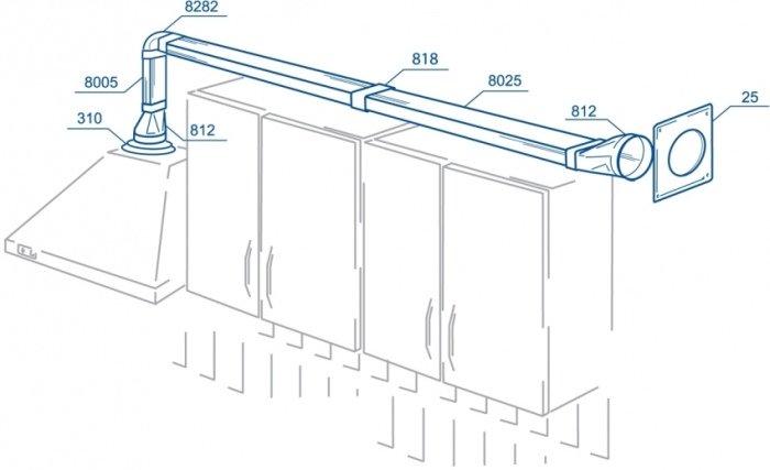 Схема установки вытяжки с помощью пластикового воздуховода