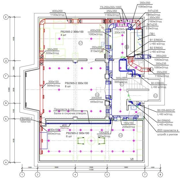 Пример схемы проекта вентиляции частного дома