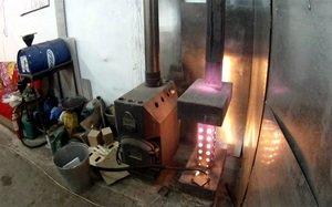 Печь на дизельном топливе в гараже